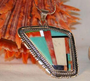 Sterling-Silver-Multi-Gem-Pendant-Turquoise-Jet-Howlite-Spiny-Oyster