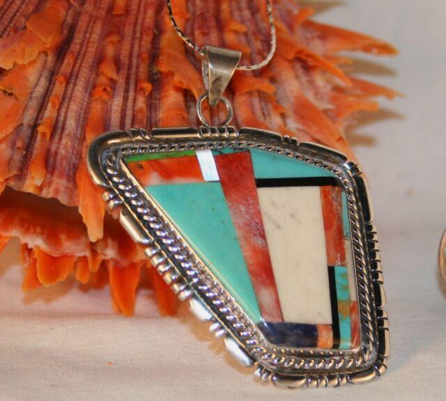 Sterling Silver Multi Gem Pendant Turquoise Jet Howlite Spiny Oyster