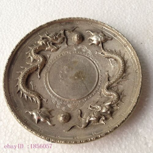 Details about  /Collectible Decorate Old Tibet Silver China double dragon ball Coin Plate