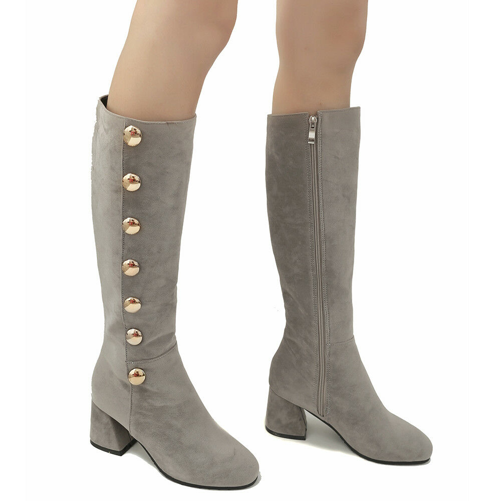 Women High Knee Boots Rivet Pointed Toe Suede Chunky Heel Warm Winter shoes