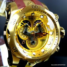 Mens Invicta Reserve Venom Swiss Master Calendar Gold Plated Brown Watch New
