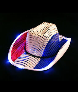 5fd0478d1 Adult Patriotic 4th of July Independence Day Light Up Cowboy Hat ...