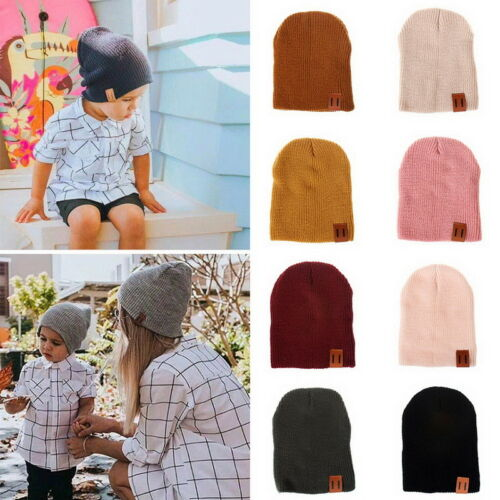 Boy Girls Winter Fall Cap Elastic Soft Warm Knitted Hat Skull Hat Cap