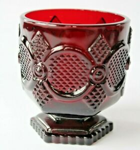 Vintage-AVON-Cape-Cod-Ruby-Red-Glass-Footed-Tumbler