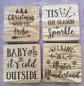 WOODEN-LASER-ENGRAVED-CHRISTMAS-COASTER-CAN-BE-PERSONALISED