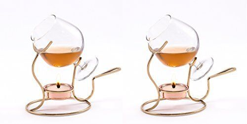 Brandy Warmer Snifter Tea Light Glass Cognac Bourbon Gentlemen Copper 2 Set