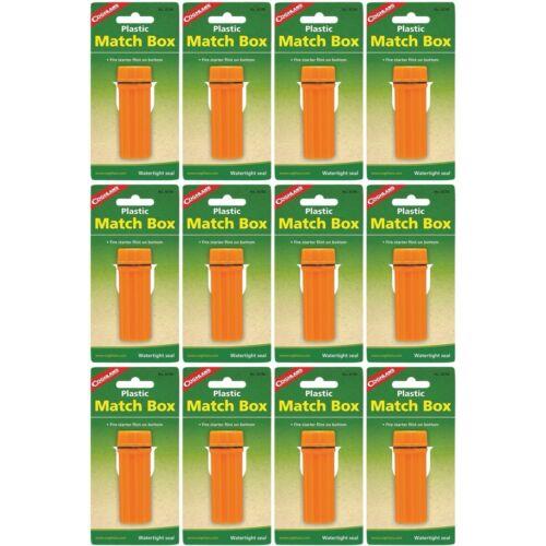 12-Pack Coghlan/'s plastique match box orange Boîtier étanche avec Flint Striker