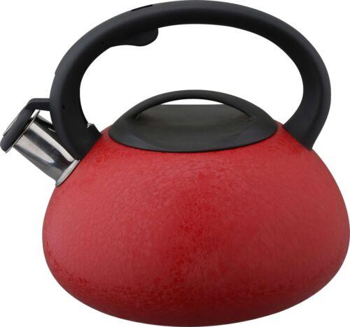 Bouilloire à sifflet 3L en Acier Inoxydable Cuisson Induction Gaz Rouge