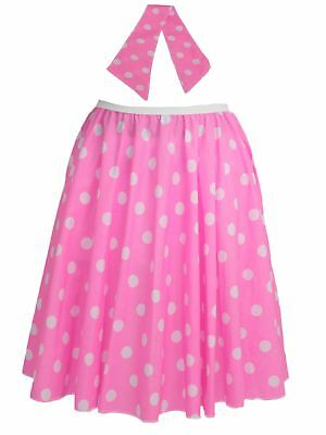 "Ladies 26"" Baby Pink & White Polka Dot Rockerbilly Skirt & Necktie Fancy Dress"