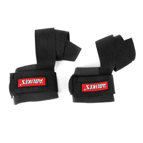 Weight Lifting Bar Straps Gym Bodybuilding Wrist Support Wraps Bandage Belt Pair