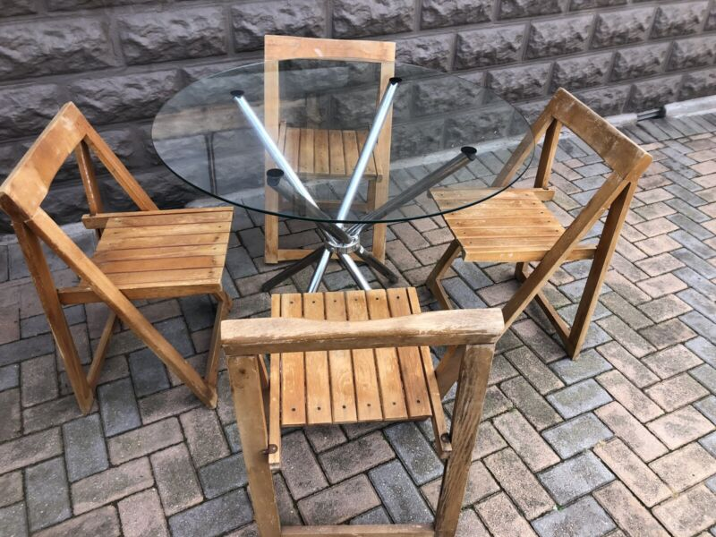 Dining Set (4 Seater) - Glass & Chrome Table & 4 Beechwood Folding Chairs - Excellent - Delivery
