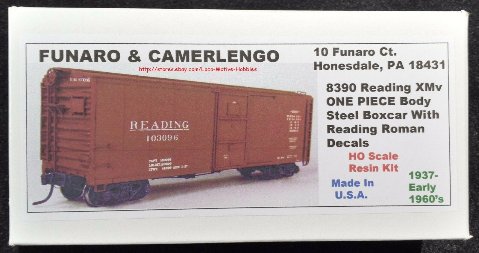 Funaro F&C 8390  READING Boxcar RDG XMv Steel Roman Lettering 1937-1960s 1-PIECE