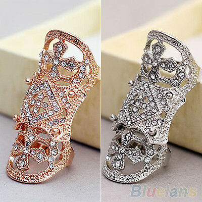Vintage Fantastic Cool Punk Western Rhinestone Joint Finger Cross Ring Jewelry