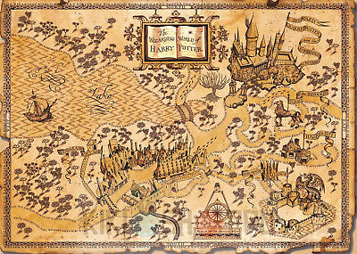 Poster A3 Mapa World Harry Potter Harry Potter World Map 01 Ebay