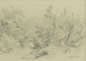 Ralph Stubbs, River and Tree Study, Whitby – Late 19th-century graphite drawing