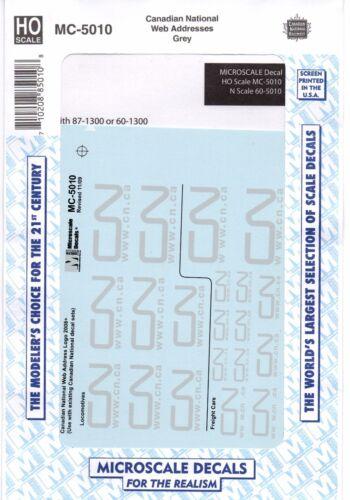 HO Scale Microscale MC-5010 CN Canadian National Grey Web Address Logo Decal Set