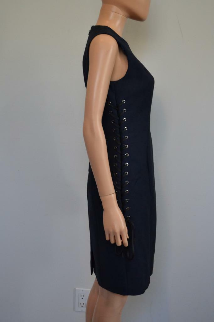 Christian Dior Navy bluee Wool Blend Lace-up Sleeveless Dress, Size Size Size 40  US 8 8a3f2c