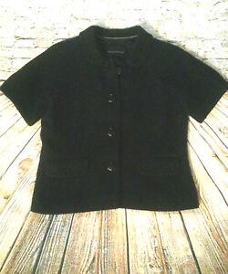 Banana-Republic-Black-Jacket-Dress-Coat-Wool-Blend-Short-Sleeve-Women-039-s-Size-XS