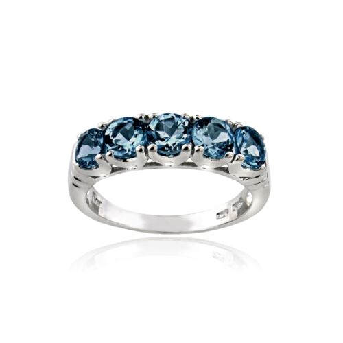 925 Sterling Silver 1.5 Ct Blue Topaz Half Eternity Band Ring