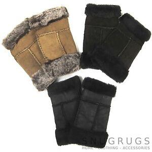 green grey women 100/% genuine real leather sheepskin finger less gloves
