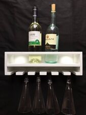 40cm 4 Capacity WHITE Wall Mounted Wine Bottle / Glass Holder Rack Bar Accessory