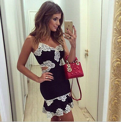 Women Lace Casual Mini Dress Sleeveless Evening Party Cocktail Bodycon Clubwear