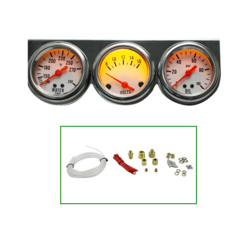 Pro Chrome Oil Pressure Water Volt Triple 3Gauge 50mm Car Gauges Panel Kit