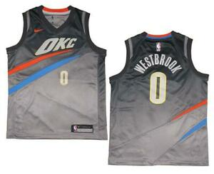 on sale aa9b0 037dc Details about Youth Nike Russell Westbrook #0 OKC Thunder Gray Swingman  Jersey M (10/12)