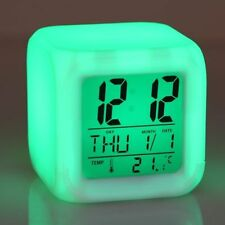 LED Color Changing Digital Alarm Calendar Temperature Clock For Office Bedroom