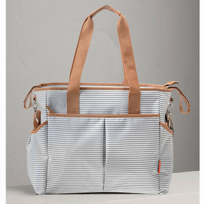 Large Designer Baby Changing Bag Insulated Nappy Diaper Bags Grey Stripe