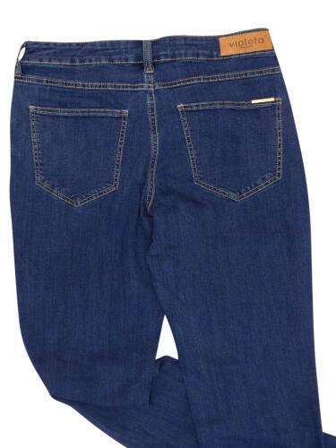 New Ex Mango Ladies Violeta Susan Slim 5 Pockets Blue Denim Jeans Size UK10-22