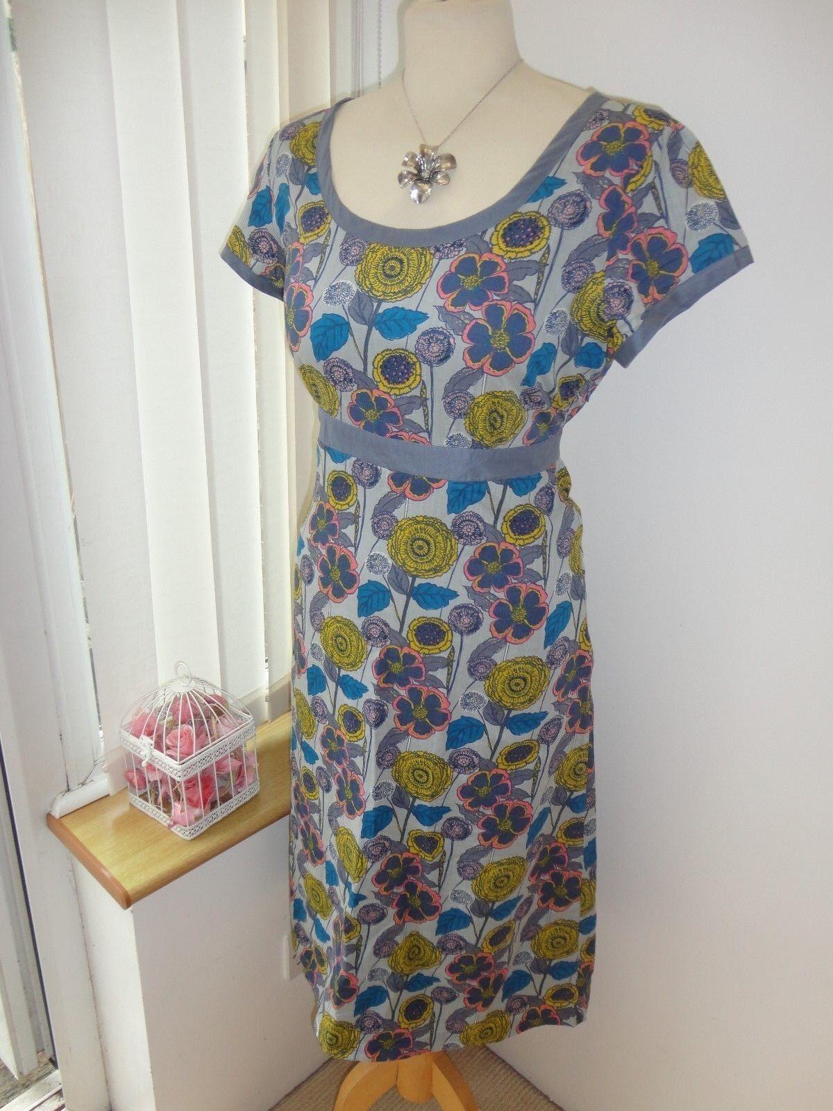 New  Pretty Ladies Seasalt Morvoren Grey bluee Pink Yellow, Floral Dress -