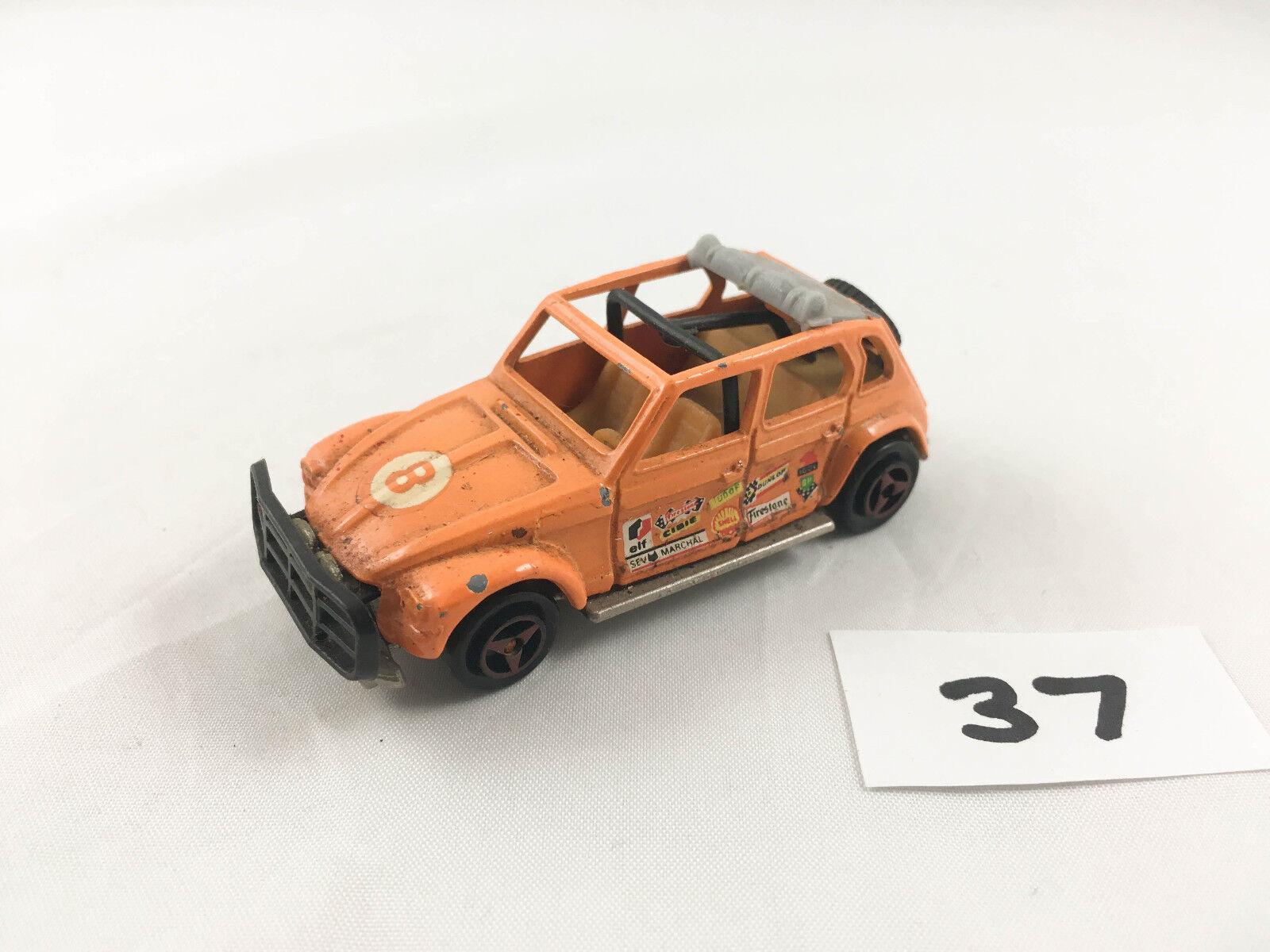 RARE VINTAGE MAJORETTE   231 CITROEN DYANE RALLY CAR NUMBER 8 Orange