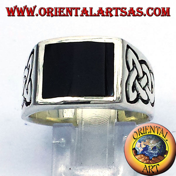 925 silver ring ‰ mit onyx und keltischer knoten