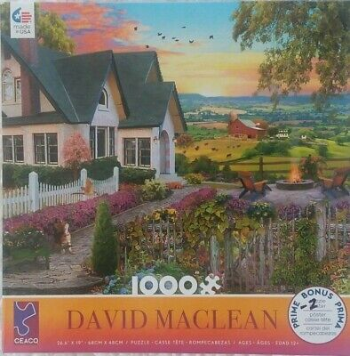 1000 piece Puzzle-David Maclean Farm House,Barn,Cows--Pre ...