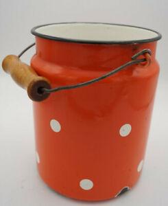 Vintage-Email-Milk-Jug-Bucket-Decor-Enamel-Retro-Flowers-Dots-50er-16