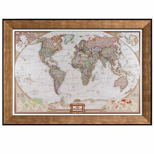 Colorful National Geographic Antique World Map Framed Art Prints - 24x36 world map