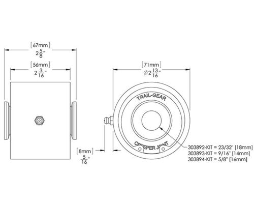 "14mm Trail Gear Weld-On Creeper Joint Kit 9//16/"""