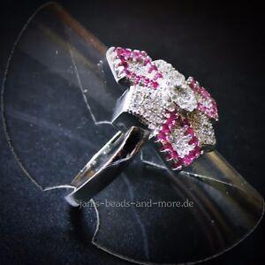 Eleganter-Rubin-Weisstopas-Cluster-Designer-Ring-925er-Silber-rhodiniert-15-9-mm