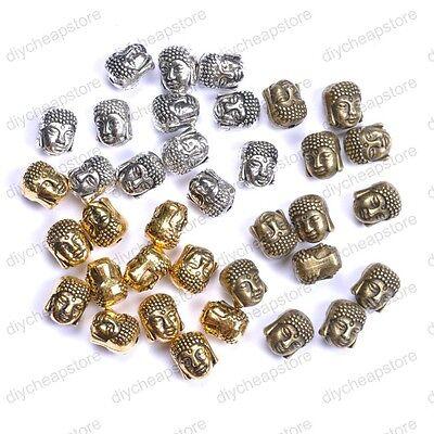 10Pcs Silver Gold Bronze Metal Buddha Head Bracelets Charms Beads 10X7MM JK0880
