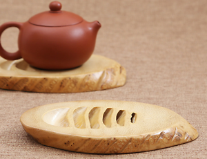 Bamboo hollowed out tea cup holder rack natural bamboo root KungFu tea handcraft