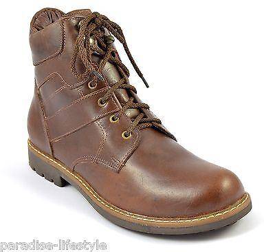 Para Hombre en el tobillo Botas De Cuero Marrón Laceup caminar al aire libre Zapatos Suela De Goma Talle 10