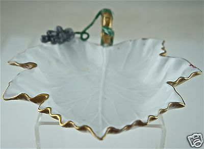 Collection Here Antique Bon-bon Nut Bowl Dish Gold Rim,maple Leaf Shaped,figural Grape Bowls Antiques