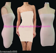 Club Party Casual Shift Sheath Strapless Stretch Tube Bodycon Dresses Nude SMALL