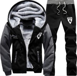 2pcs Mens Winter Tracksuit Hoodies Casual Pants Set Lounge Wear