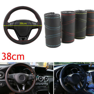 Universal-Black-Leather-DIY-Car-Steering-Wheel-Cover-Auto-Protection-Needle-38cm