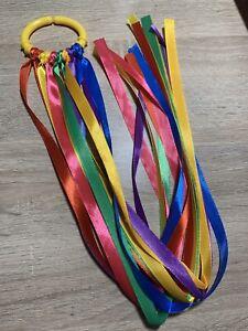 New-Born-Baby-Rainbow-Sensory-Ribbon-Link-Ring-Baby-Shower-Gift-Girl-Boy-Yellow