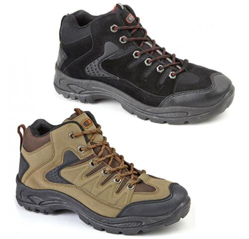 ONTARIO Mens Lace Up Scuff Padded Trail Trek Hiking Mid Ankle Boots Khaki Brown