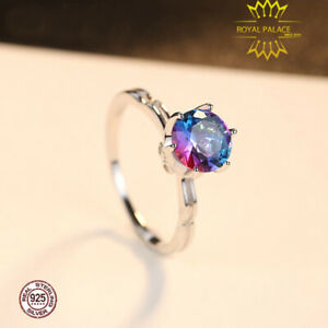 Rainbow-Fire-Mystic-Topaz-Genuine-925-Sterling-Silver-Engagement-Ring-for-Women