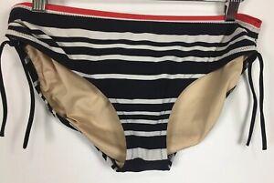 Lands-End-Bikini-Swimsuit-Bottom-Size-8-Black-White-Stripe-Side-Ruching